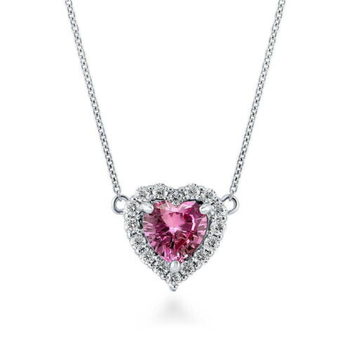 BERRICLE Sterling Silver Heart Shaped Pink CZ Halo  Pendant Necklace