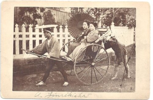 Cabinet Photograph of a Japanese Rickshaw w/ Two Women Riders c1880s