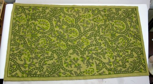 Very Fine Vintage/Antique Green INDIAN HAND-WOVEN Wool Carpet  India