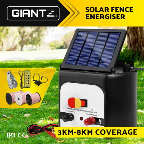 Giantz Electric Fence Energiser 3/5/8/15km Solar Powered Charger Farm Animal
