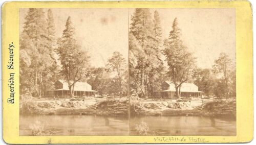 Stereoview of Hutchings House Hotel in Yosemite Valley California c1860-70s