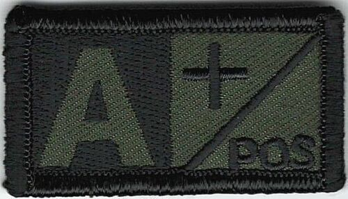 Olive Green Black Blood Type A+ Positive Patch VELCRO® BRAND Hook Fastener CompaArmy - 48824