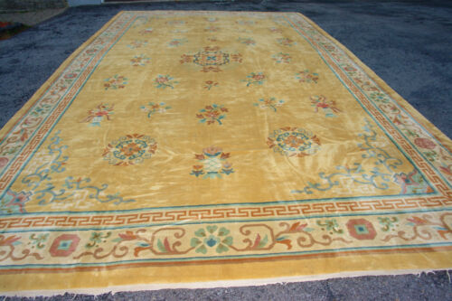 Antique Hand Made  Yellow color Chinese Rug 13x22 ft
