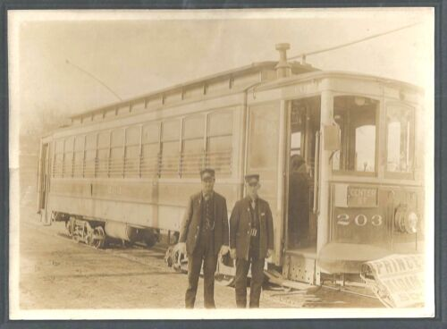 Cabinet Photograph of Electric Railway Motorman & Conductor 1912