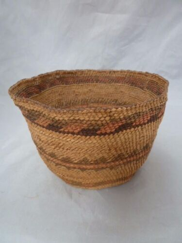 "Native American Weave Basket Bowl. Very Nice Design. Approx 4"" T & 6"" D"