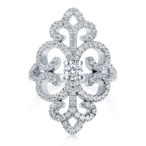 BERRICLE Sterling Silver CZ Art Deco Filigree Fashion Right Hand Cocktail Ring