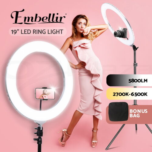 """Embellir LED Ring Light With Stand 19"""" Tripod Silver Phone Camera Dimmable Diva <br/> ✔Upgraded ✔Camera holder ✔Phone holder"""