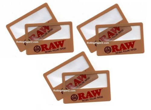 SIX New! RAW Rolling Papers Magnifier Scooping Cards - SEE WHAT YOU ARE SMOKING!