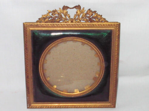 ANTIQUE 5.5 FRENCH BRONZE PICTURE FRAME EMERALD GREEN GLASS STERN BROS FRANCE NY