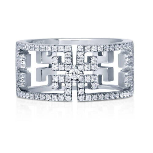 BERRICLE Sterling Silver CZ Art Deco Fashion Right Hand Cocktail Ring