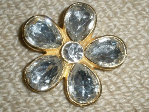 "Vtg Button Clear Rhinestones Gold Flower Pendant 2"" x 2"" Double Shank EXC #F05"