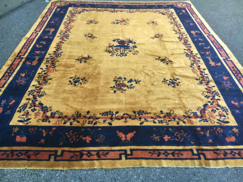 Antique Yellow color  Hand Made Peking  Chinese Rug 9x12ft  Ca 1910