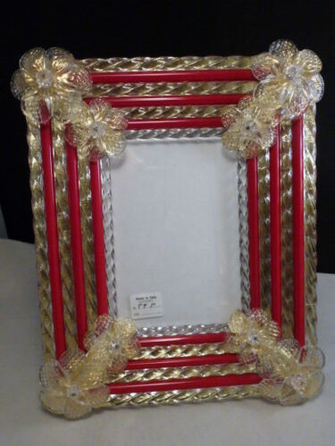 NEW Venetian Florentine  Italy  PICTURE FRAME  GLASS  RED CLEAR MURANO VENICE