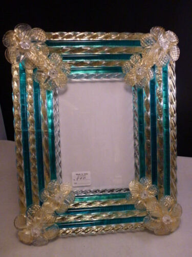 NEW Venetian Florentine  Italy  PICTURE FRAME  GLASS TEAL  CLEAR MURANO VENICE