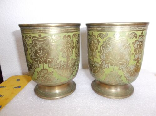"Antique Pair of Brass Goblets / Cups, Green Enamel, marked H.V. India, 4 3/8""H"