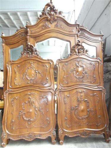 VICTORIAN ITALIAN MARBLE TOP ANTIQUE WALNUT CARVED BEDS  - 15IT010D