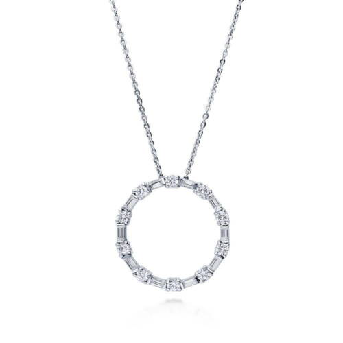 BERRICLE Sterling Silver Cubic Zirconia CZ Open Circle Pendant