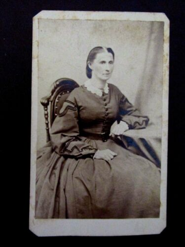 CDV Photo LADY ELIZABETH FOSTER Dress Chair antique w/ George Washington Stamp