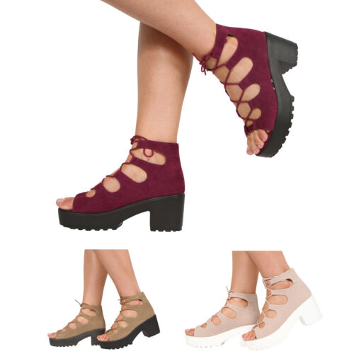 WOMENS & CHILDRENS MID BLOCK HEEL CHUNKY PLATFORM LACE UP ANKLE  SANDALS SHOES