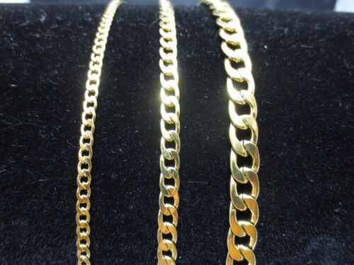 """3/5/7mm MEN WOMEN STAINLESS STEEL GOLD PLATED CURB CHAIN NECKLACE 18""""-60""""-GOLD"""