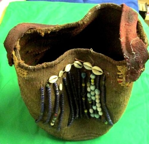 Antique YORUBA BAG NIGERIA Decorated Beads Shells Buttons Vintage African art