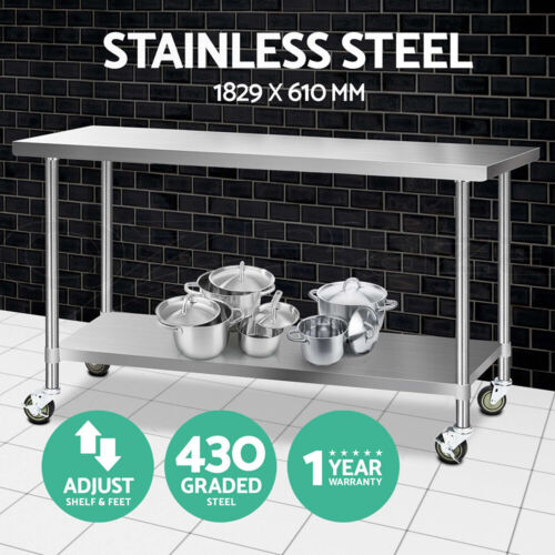 Cefito Stainless Steel Kitchen Benches Work Bench Food Prep Table Wheels XL 430