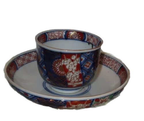 Antique 19C Chinese Export Pottery Tea Bowl & Saucer w Imari Pattern