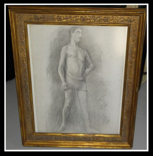 Unusual Antique Original Male Semi-Nude Drawing in Gilt Frame