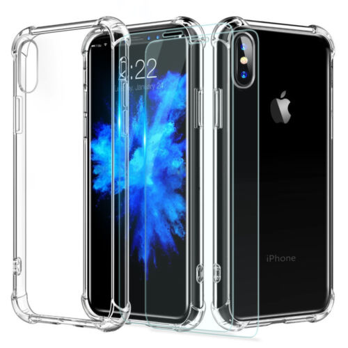 For Apple iPhone 8 7 Plus TPU Case Cover + 2 Pcs Tempered Glass Screen Protector