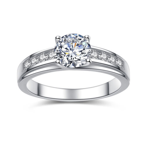 Solid 925 Sterling Silver Solitaire 1.50 Ct Round Cubic Zirconia Engagement Ring