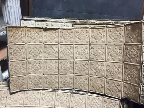 """GORGEOUS antique VICTORIAN tin ceiling pressed FLORAL BOW pattern 24.75 x 48"""""""