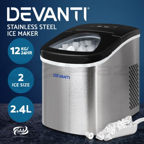 Devanti Portable Ice Maker Commercial Machine Stainless Steel Benchtop Ice Cube <br/> 9 Cubes / LED Control Panel / Energy Saving / 2.4L