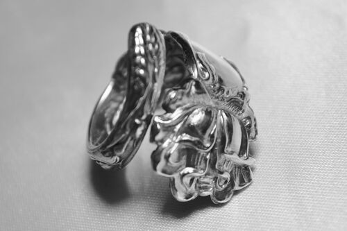 STERLING, Spoon Ring, Alvin, Bridal Rose, Flower, Love, Jewelry Free Ship