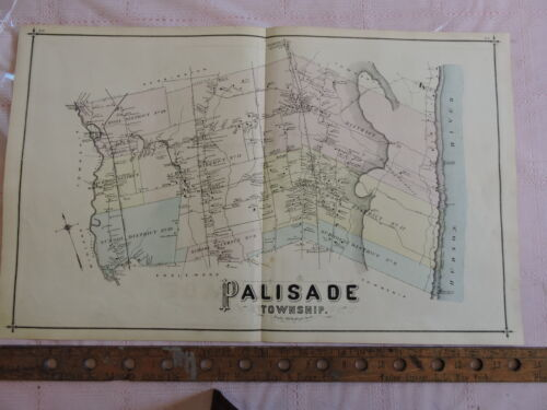 1876 Bergen Co TENAFLY + PALISADE Twp. Hudson River 17x28 map prints New Jersey