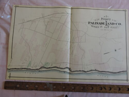 1876 Bergen PALISADE  LAND CO Hillsdale Hudson River 17x28 map prints New Jersey