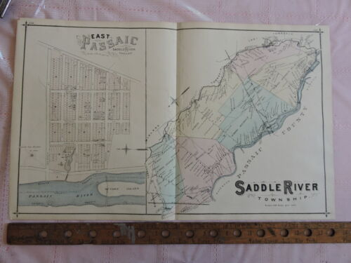 1876 Bergen Co. Saddle River Lodi Passaic Fair Lawn 17x28 map prints New Jersey
