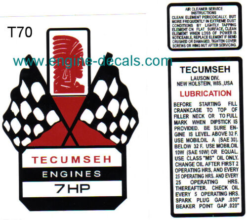 Tecumseh 7-hp decal H70 V70 Mini Bike Go Kart Flags T70