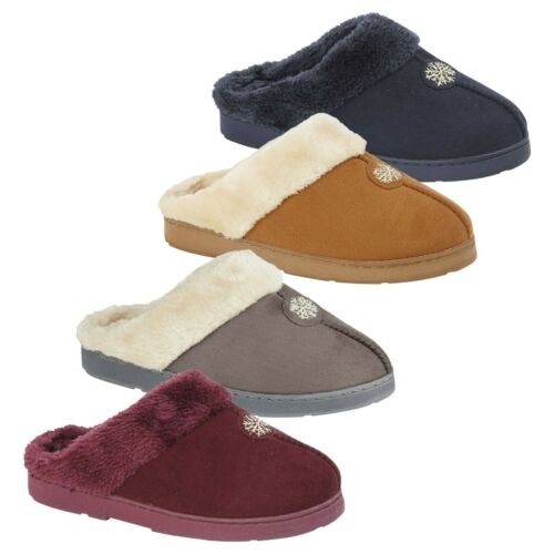 Ladies Fur Fleece Lined Mules Slippers Womens Shoes Clogs UK size 3 4 5 6 7 8