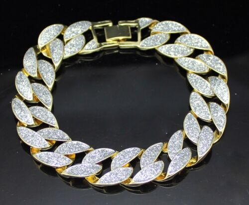 """Mens Frosted Glitter Miami Cuban Curb Link Gold Plated 8"""" 15mm Hip Hop Bracelet"""