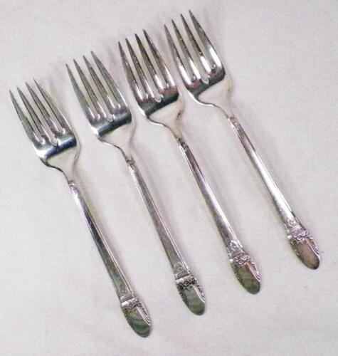 4 First Love Silverplate Salad Forks 1847 Rogers Bros Dessert Fork Vintage
