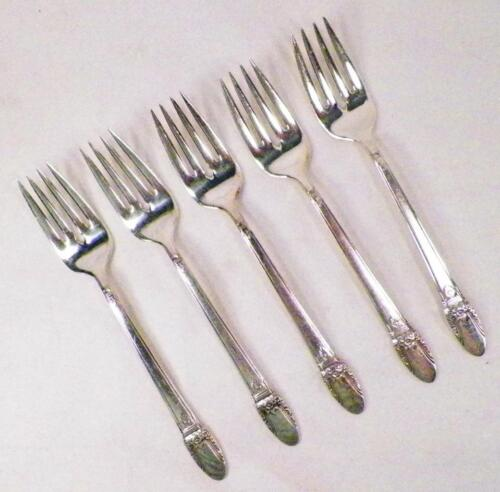 5 First Love Silverplate Salad Forks 1847 Rogers Bros Dessert Fork Vintage