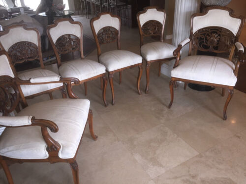 6  CIRCA 1900 ART NOUVEAU ITALIAN CARVED CHAIRS -LIBERTY/ DINING/GAME/SALON