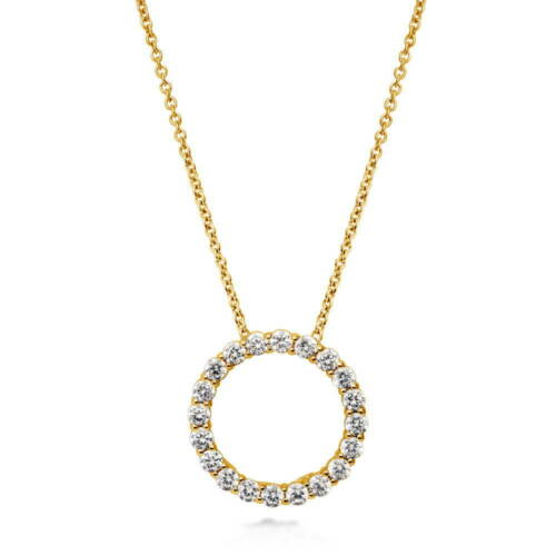 BERRICLE Gold Flashed Sterling Silver Cubic Zirconia CZ Open Circle Pendant