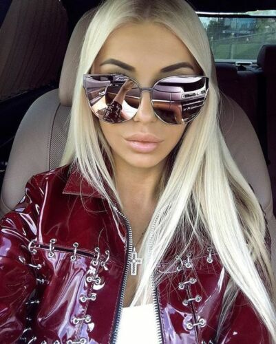 Cat Eye XXL Princess Barbie Pink OVERSIZED Metal Mirrored Women Sunglasses GAFAS