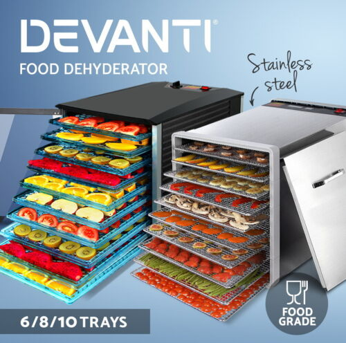 5-Star Chef Food Dehydrator Commercial Stainless Steel Jerky Maker Fruit Dryer <br/> 6,8,10,12 Trays Available / Non-Stick Drying Sheet