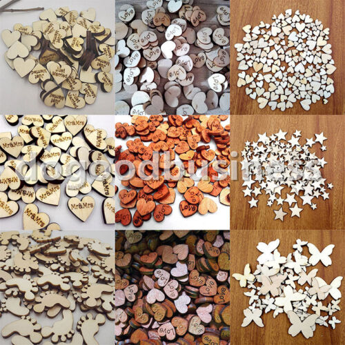 50~200pcs Rustic Wooden Wood Love Heart Wedding Table Scatter Decoration Crafts