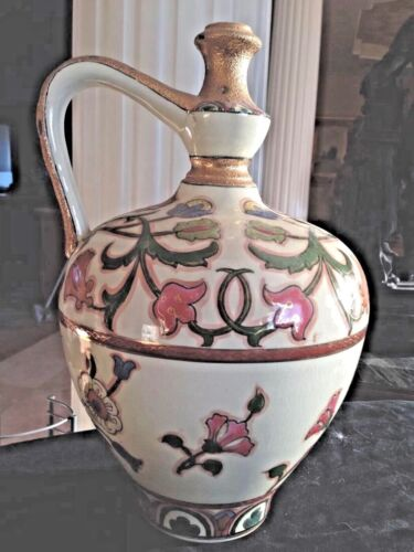 Antique J. Fischer Budapest Large Hand Painted Gold Guilded Wine Jug 1882