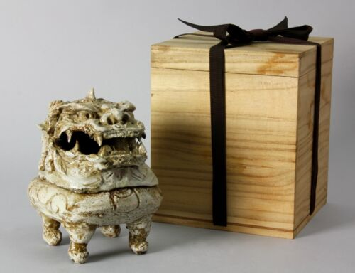 Japanese Shishi Lion Koro Incense Burner Ko-Seto Kiln H4