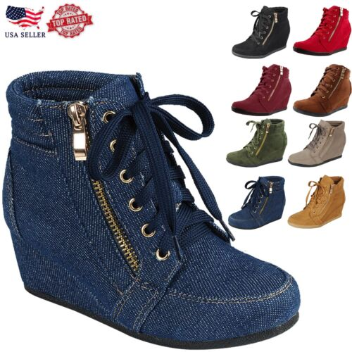 Women's New Glitter Sneakers High Top Lace Up Wedge Heel Ankle Bootie Shoes