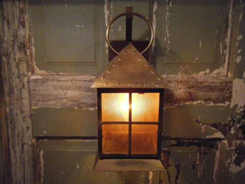 Solid Brass Light Fixture Sconce 17th 18th Century Antique Patina Lantern Amber